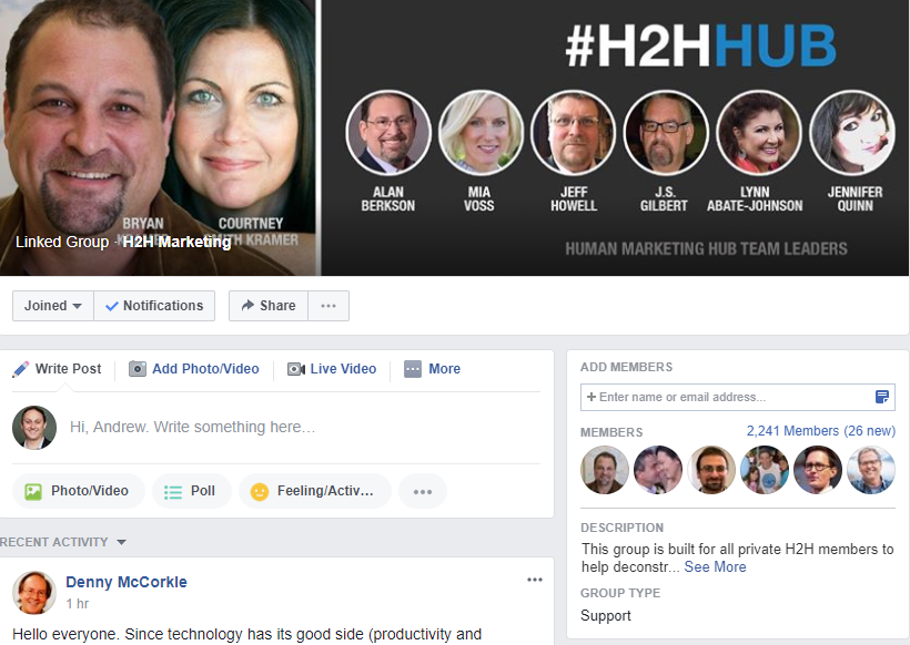Facebook Group H2H Marketing